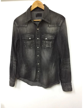 aw05-western-pearl-snap-button-faded-denim-shirt by number-(n)ine  ×