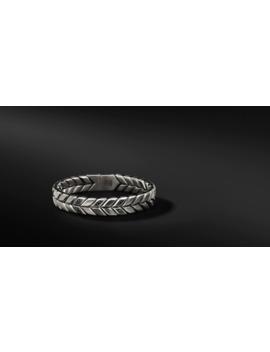 Chevron Woven Bracelet With Black Diamonds, 12mm by David Yurman
