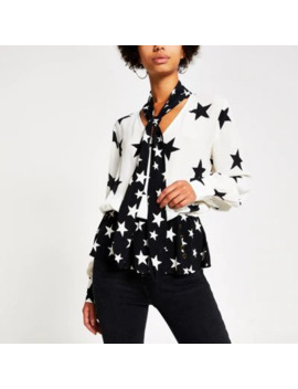 cream-star-print-tie-neck-blouse by river-island