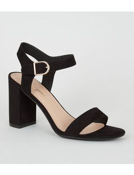 black-suedette-ankle-strap-block-sandals by new-look