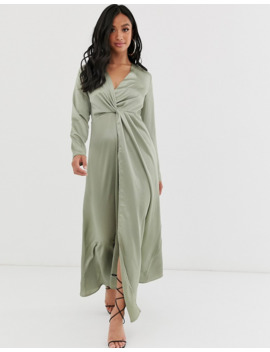 prettylittlething-petite-twist-front-maxi-dress-in-sage-green by prettylittlething