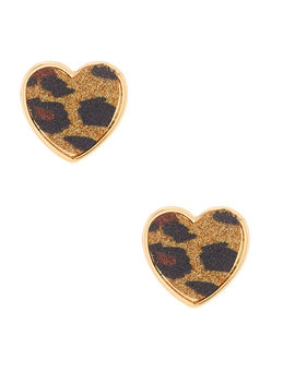 gold-glitter-leopard-heart-stud-earrings by claires