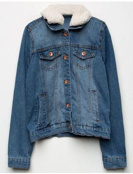 ci-sono-sherpa-collar-girls-denim-jacket by tillys