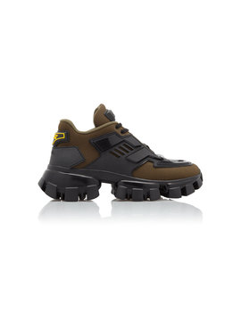 combat-leather-trimmed-mesh-and-rubber-sneakers by prada
