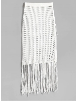 popular-salefringed-side-slit-crochet-skirt---white by zaful