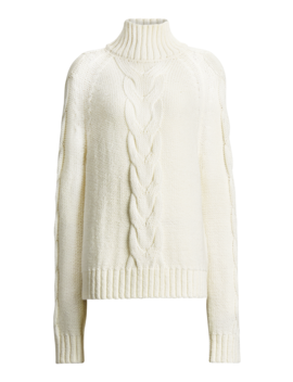 High Neck Chunky Cable Knit Sweater by Joseph