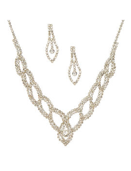 Silver Glass Rhinestone Woven Jewelry Set by Claire's