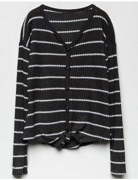white-fawn-stripe-button-&-tie-front-charcoal-girls-thermal by white-fawn