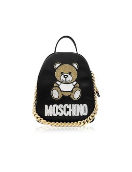 Black Teddy Bear Chain Backpack by Moschino