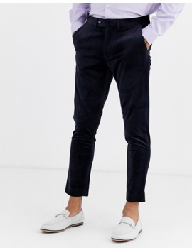 gianni-feraud-skinny-fit-velvet-cropped-suit-in-navy by asos