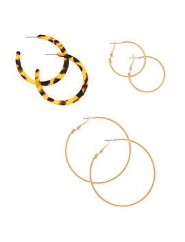 Gold Graduated Resin Tortoiseshell Hoop Earrings   Brown, 3 Pack by Claire's