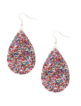 "Silver 2"" Rainbow Glitter Teardrop Drop Earrings by Claire's"