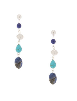 "2.5"" Natural Stone Drop Earrings   Blue by Claire's"
