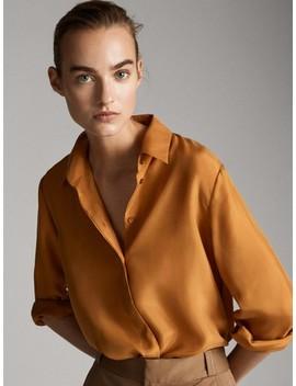 camisa-lisa-100%-seda by massimo-dutti