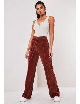 rust-velour-seam-detail-wide-leg-jogger by missguided