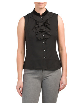 petite-velvet-stand-collar-charmeuse-blouse by tahari-by-asl