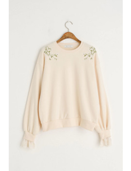 daisy-embroidered-lace-sleeve-sweatshirt,-ivory by olive