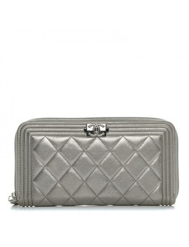 chanel-metallic-calfskin-quilted-boy-zip-around-wallet-silver by chanel