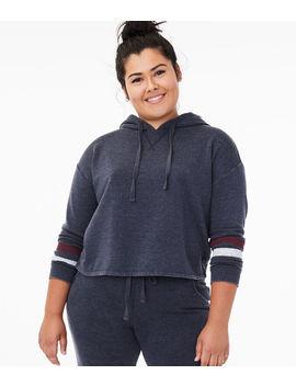 striped-sleeve-pullover-hoodie by aeropostale