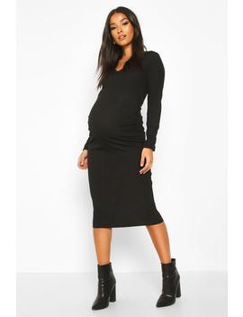 maternity-v-neck-lace-trim-midi-dress by boohoo