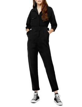 belted-button-up-long-sleeve-jumpsuit by topshop