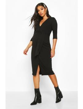 maternity-button-front-tie-waist-rib-midi-dress by boohoo