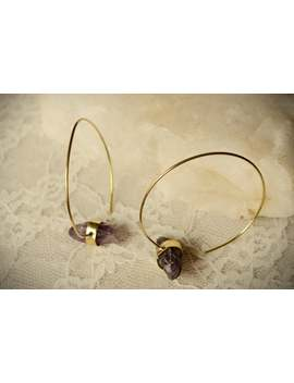 simple-large-wire-hoop-earrings-with-raw-amethyst-brass-and-stone-earring-boho,-festival,-hippy,-witchy by etsy