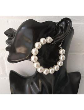 "beautiful--ivory-faux-pearl-bead-hoop-earrings---clip-on-or-pierced-options---7cm---70mm---275"" by etsy"