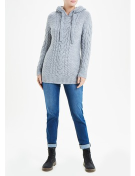 falmer-cable-knit-longline-hoodie by matalan