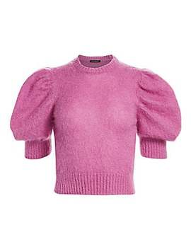 cropped-puff-sleeve-sweater by wandering