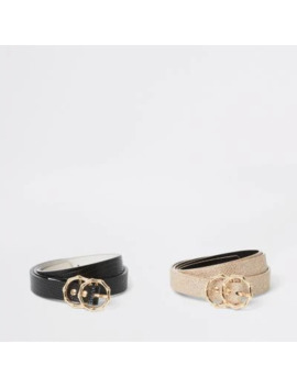 black-textured-double-ring-belt-2-pack by river-island