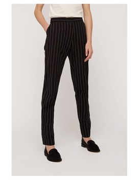 Corin Pinstripe Trousers In Black by People Tree