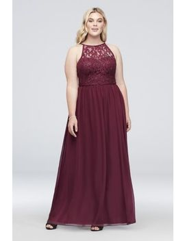 Illusion Lace And Chiffon Halter Plus Size Gown by Speechless