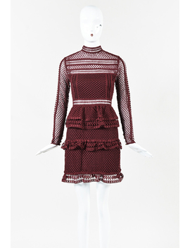 "Dark Maroon ""High Neck Lace Paneled"" Mini Dress by Self Portrait"