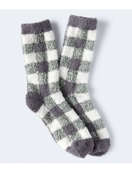 Buffalo Check Fuzzy Crew Socks*** by Aeropostale