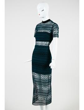 Green And Black Trellis Lace Short Sleeve Column Dress by Self Portrait