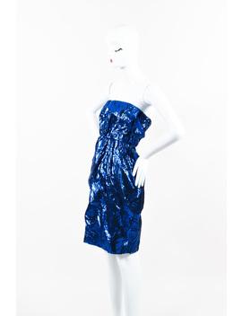 Metallic Silk Slashed Strapless Dress by Chanel