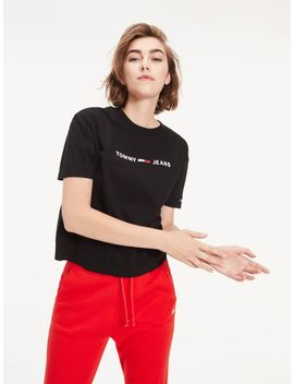 Logo Cropped Fit T Shirt by Tommy Hilfiger