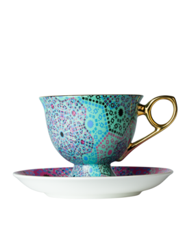 Moroccan Tealeidoscope Aqua Cup & Saucer Tall by T2 Tea