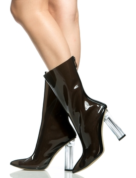 Black Vinyl Calf Length Translucent Heels by Ci Cihot