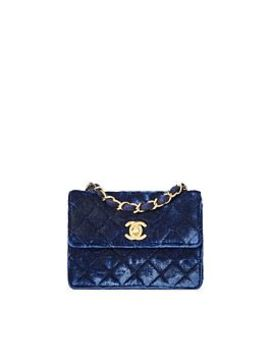 Navy Quilted Velvet Half Flap Micro by Chanel