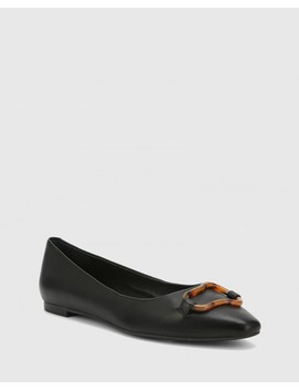 Eugena Black Nappa Leather Snib Toe Flat by Wittner