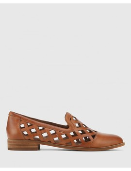 Heeva Dark Cognac Nappa Leather Almond Toe Flat by Wittner