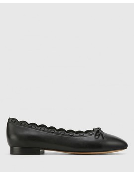 Adara Black Leather Almond Toe Ballet Flat by Wittner