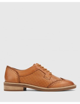 Canan Coconut Brown Leather Pin Punch Lace Up Leather Brogue by Wittner