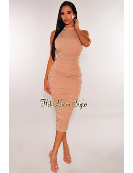 Blush Shimmer Ruched Midi Dress by Hot Miami Style