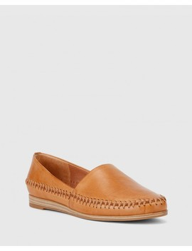 Christy Coconut Leather Wedge Slip On Flat by Wittner