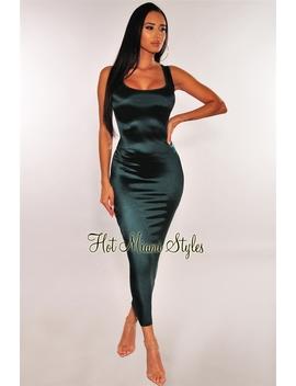 Emerald Satin Sleeveless Dress by Hot Miami Style