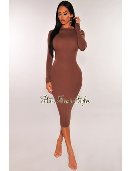 Chocolate Mock Neck Long Sleeves Midi Dress by Hot Miami Style