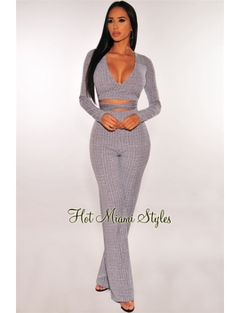 Gray Ribbed Wrap Around Tie Up Palazzo Two Piece Set by Hot Miami Style